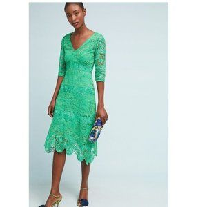 Tracy Reese By Anthropologie Green Lace Dress